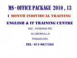 INDIVIDUAL COMPUTER TRAINING CLASSES IN MS- OFFICE - CRASH COURSE 1 MONTH
